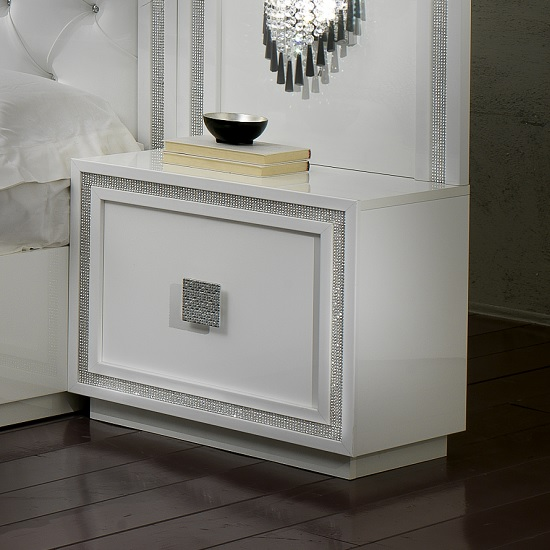 Chloe Bedside Cabinet In White Gloss With Crystal Effect Trim