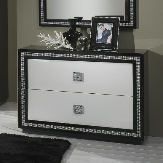 Chloe Chest Of Drawers In Black White Gloss And Crystal Trim