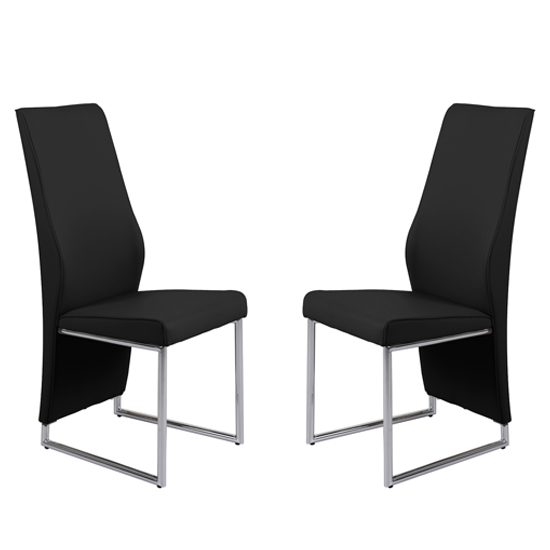 Crystal Black PU Dining Chairs With Chrome Legs In Pair