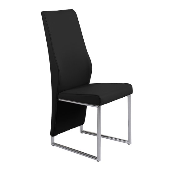 Crystal PU Dining Chair In Black With Chrome Legs