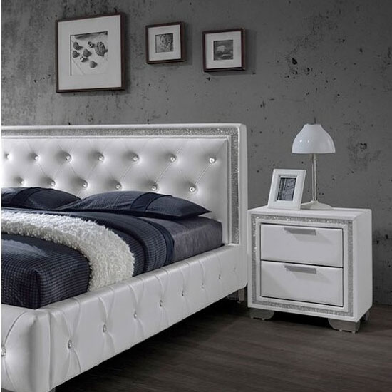 Christie 2 Drawer Bedside in White With Diamante Design