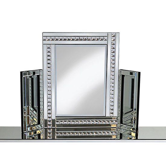 View Elena dressing table mirror in silver with crystal detail