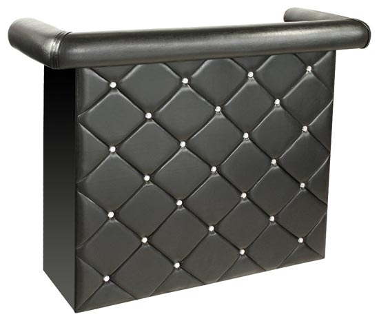 Crystal Miami Bar Unit In Black Faux Leather With Diamanté