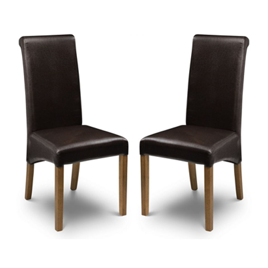 Cuba Brown Faux Leather Dining Chair In Pair