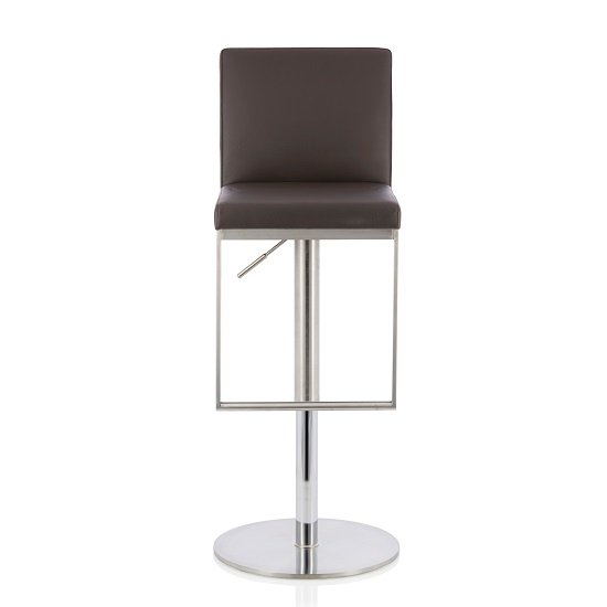 Cuban Bar Stool In Brown Faux Leather And Stainless Steel Base