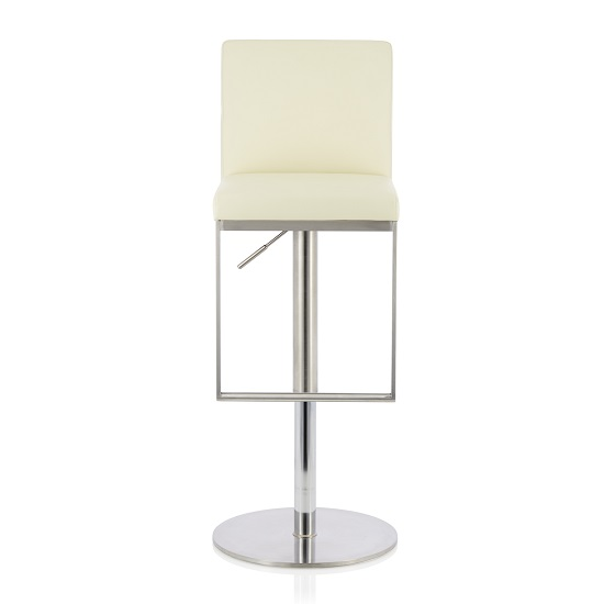Cuban Bar Stool In Cream Faux Leather And Stainless Steel Base