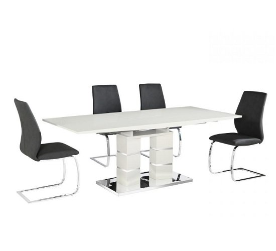 View Cuban 6 seater extendable dining table set in white high gloss