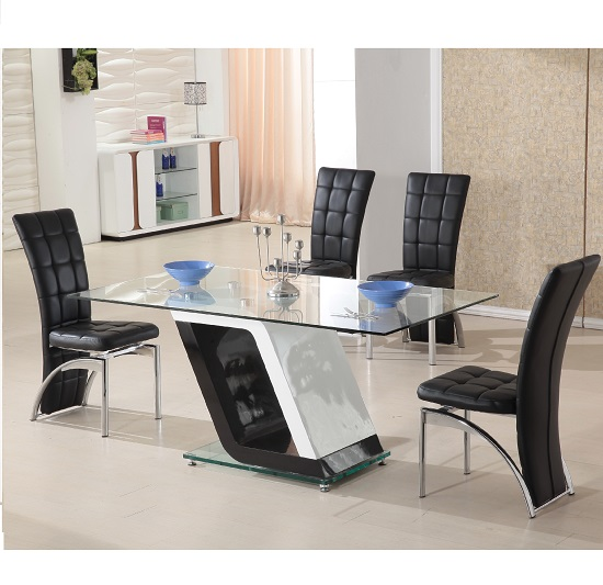 Madison 90cm Clear Glass Dining Table With Charcoal Grey  : cube20blackdiningtableandchairs from 50han.com size 550 x 533 jpeg 106kB