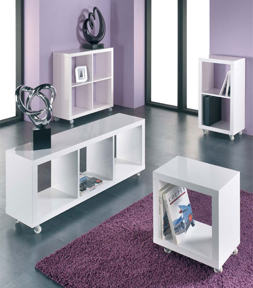 Cube Lowboard Tv Unit In Gloss White With Wheels