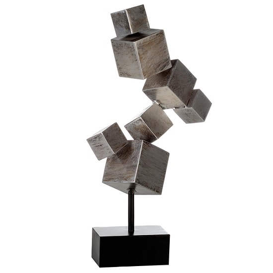 Cubes Sculpture In Silver Metal With Black Base