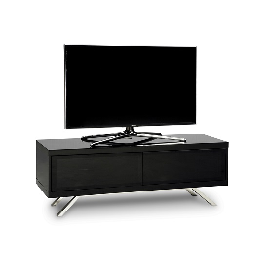 Cubic Contemporary TV Stand In Black Gloss With 2 Doors