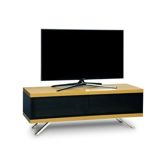 Cubic TV Stand In Black Gloss With Oak Top And Bottom Panel