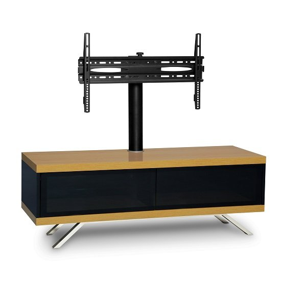 Cubic TV Stand In Black Gloss With Oak Top And Bottom Panel_4