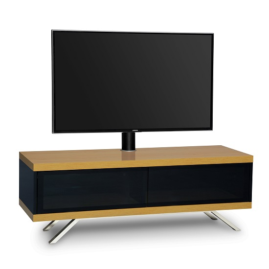 Cubic TV Stand In Black Gloss With Oak Top And Bottom Panel_6