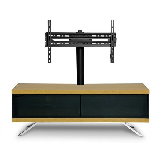 Cubic TV Stand In Black Gloss With Oak Top And Bottom Panel_5