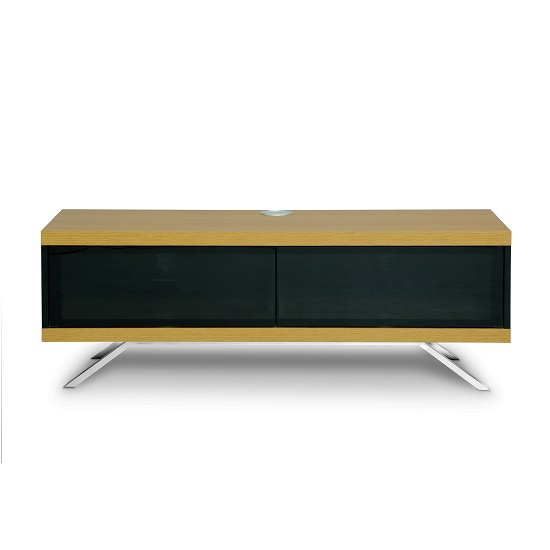 Cubic TV Stand In Black Gloss With Oak Top And Bottom Panel_3