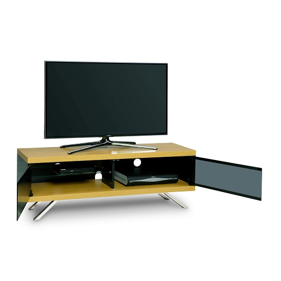 Cubic TV Stand In Black Gloss With Oak Top And Bottom Panel_2