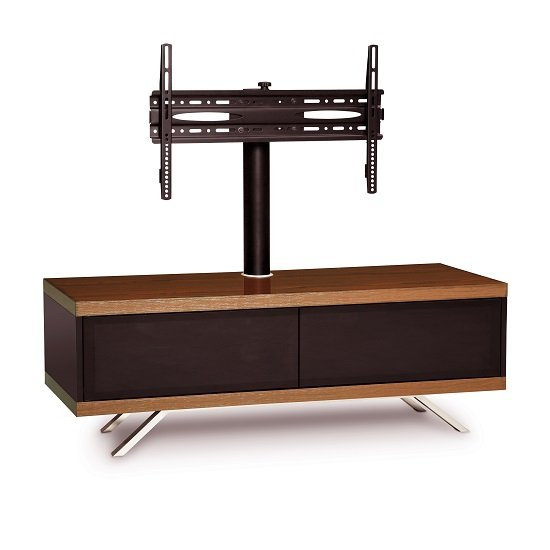 Cubic TV Stand In Black Gloss With Walnut Top And Bottom Panel_4