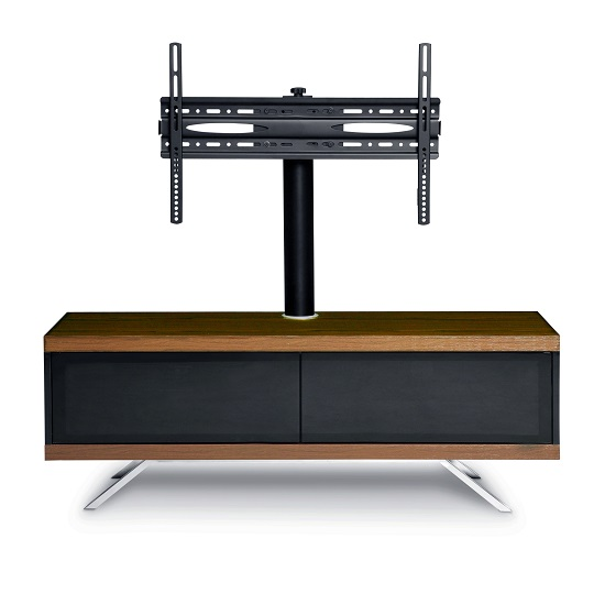 Cubic TV Stand In Black Gloss With Walnut Top And Bottom Panel_5