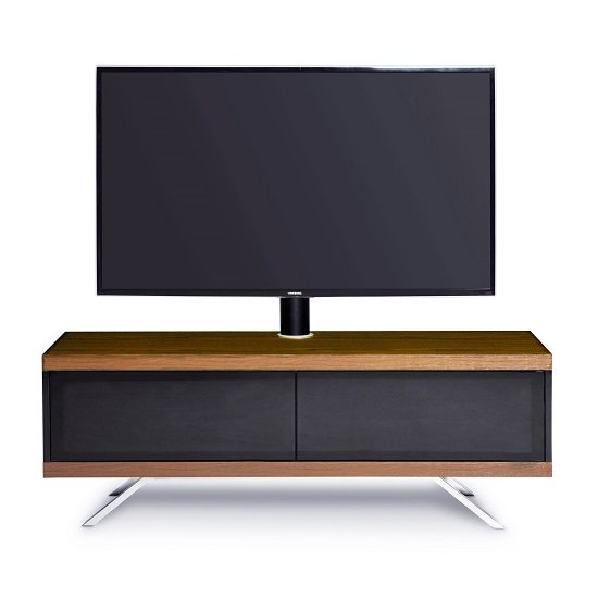 Cubic TV Stand In Black Gloss With Walnut Top And Bottom Panel_6