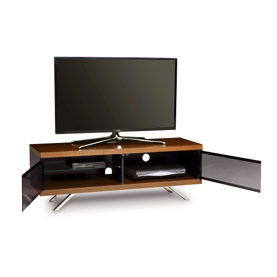 Cubic TV Stand In Black Gloss With Walnut Top And Bottom Panel_2
