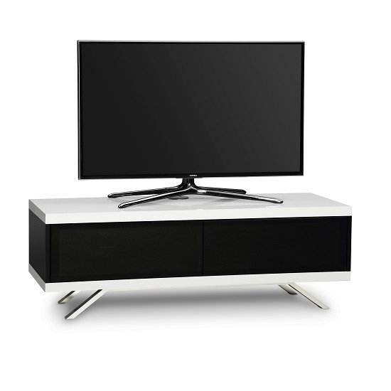 Cubic TV Stand In Black Gloss With White Top And Bottom Panel