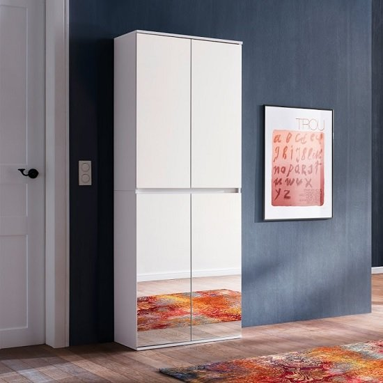 Cubix Mirrored Hallway Shoe Cupboard In White With 4 Doors