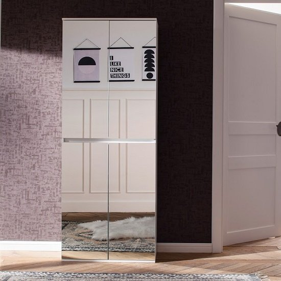Cubix Mirrored Hallway Shoe Cupboard In White With 4 Doors_2