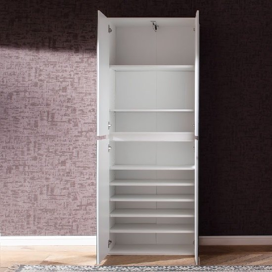 Cubix Mirrored Hallway Shoe Cupboard In White With 4 Doors_3