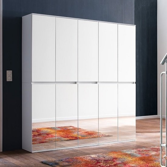 Cubix Mirrored Hallway Wardrobe Large In White With 10 Doors