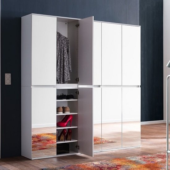 Cubix Mirrored Hallway Wardrobe Large In White With 10 Doors_2