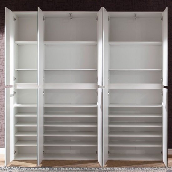 Cubix Mirrored Hallway Wardrobe Large In White With 10 Doors_3