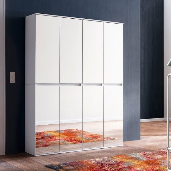 Cubix Mirrored Hallway Wardrobe Medium In White With 8 Doors