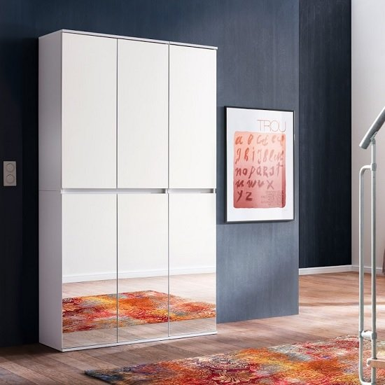 Cubix Mirrored Hallway Wardrobe In White With 6 Doors_1