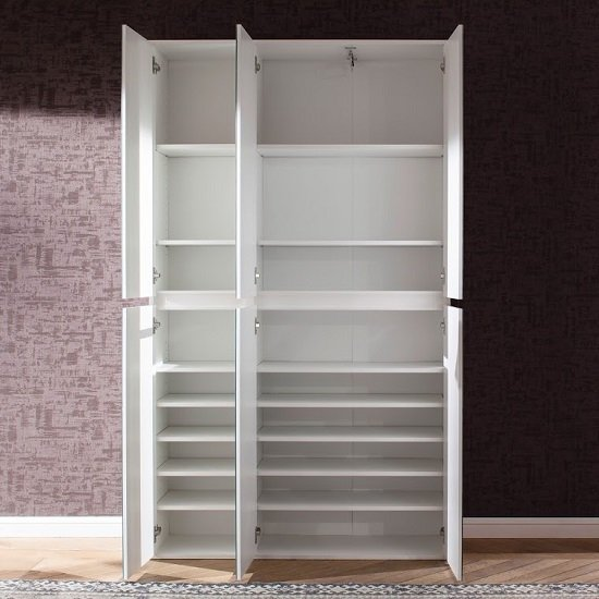 Cubix Mirrored Hallway Wardrobe In White With 6 Doors_2