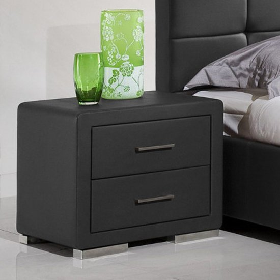 Cullen PU Leather Wooden Bedside Cabinet In Black