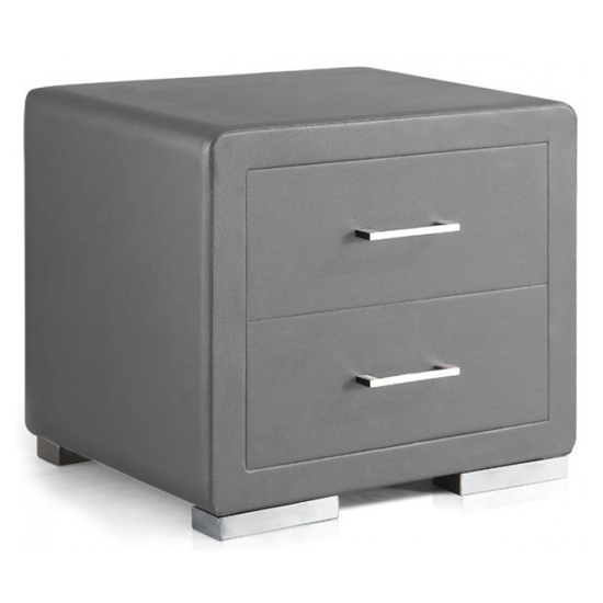 Cullen PU Leather Wooden Bedside Cabinet In Grey_2