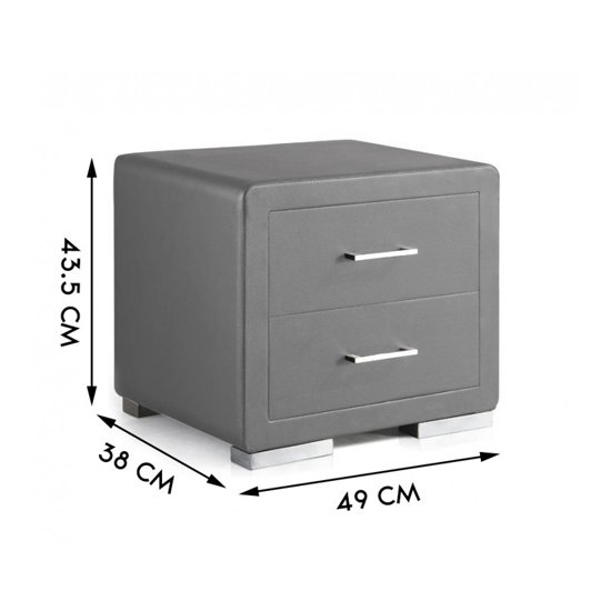 Cullen PU Leather Wooden Bedside Cabinet In Grey_3
