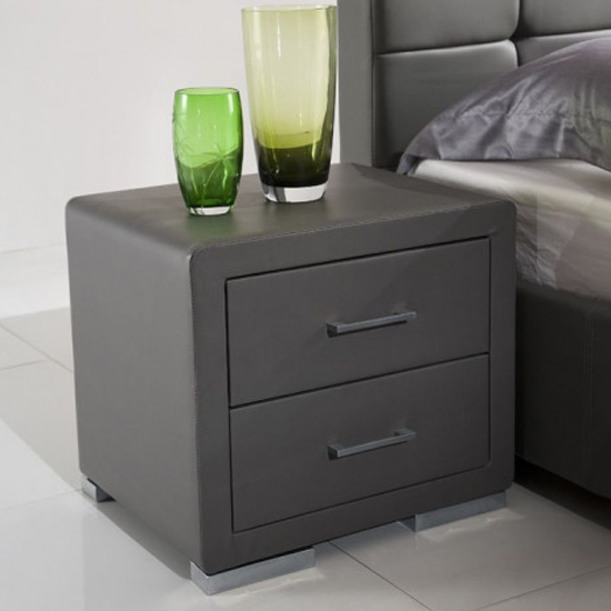 Cullen PU Leather Wooden Bedside Cabinet In Grey