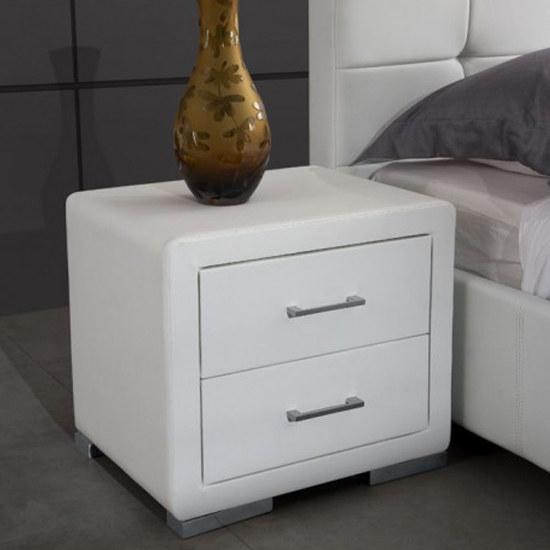 Cullen PU Leather Wooden Bedside Cabinet In White