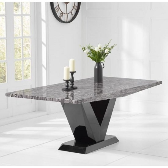 Culler Marble Dining Table In White With V Shape Base