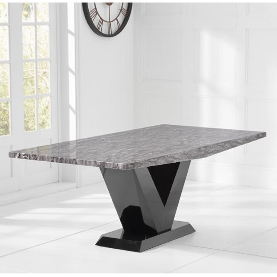 Culler Marble Dining Table In White With V Shape Base_2
