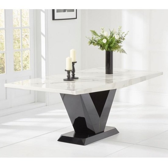 Caller Marble Large Dining Table In White With V Shape Base