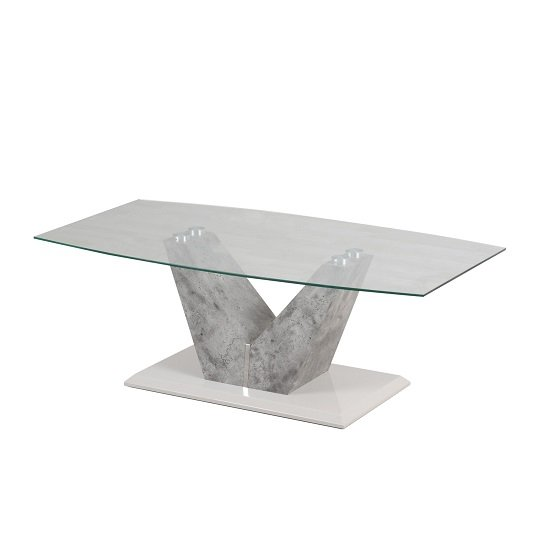 Stone And Glass Coffee Tables: Cuneo Glass Coffee Table With Grey Stone Look And Steel