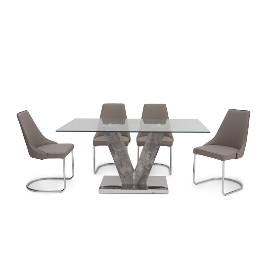 Cuneo Rectangular Glass Dining Table With 6 Katie Chairs