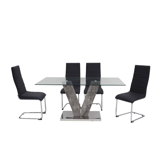 Cuneo Rectangular Glass Dining Table With 6 Vegas Chairs