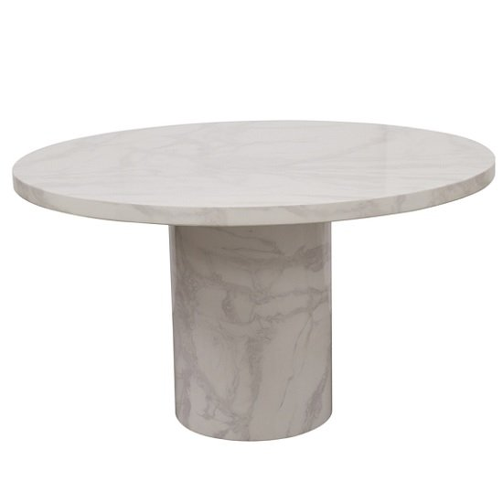 Cupric Marble Coffee Table Round In Bone White Gloss Finish