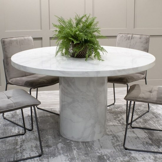 Cupric Marble Dining Table Round In Bone White Gloss Finish