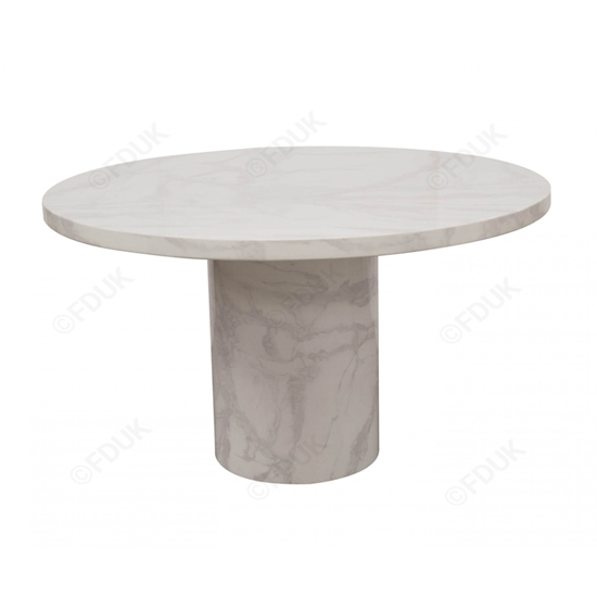 Cupric Round Gloss Marble Dining Table 4 Enmore Pewter Chairs_2