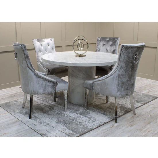 Cupric Round Gloss Marble Dining Table 4 Enmore Pewter Chairs